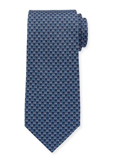 Ferragamo Interlocking Gancini Silk Tie  Dark Blue