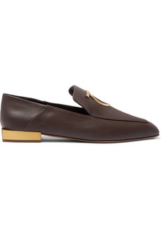 Ferragamo Lana Embellished Leather Collapsible-heel Loafers