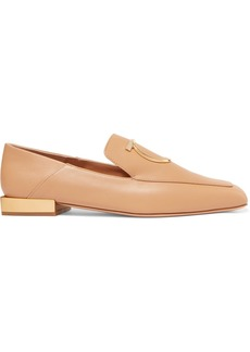 Ferragamo Lana Embellished Leather Collapsible-heel Loafers