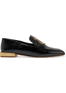 Ferragamo Lana Embellished Textured Patent-leather Collapsible-heel Loafers