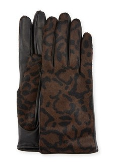 Ferragamo Leather & Calf Hair Gloves