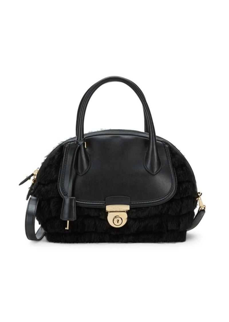 Ferragamo Leather & Rabbit Fur Shoulder Bag