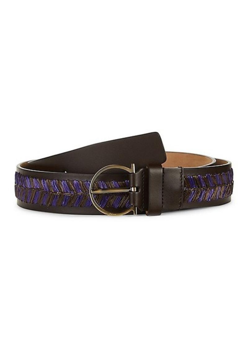 Ferragamo Leather & Raffia Belt