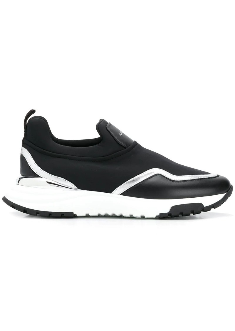 Ferragamo leather and fabric slip-on sneakers