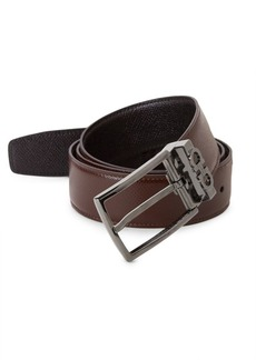 Ferragamo Reversible Leather Gunmetal Belt