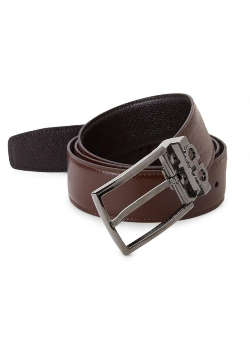 Ferragamo Reversible Leather Gunmetal Belt