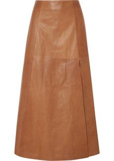 Ferragamo Leather Midi Skirt
