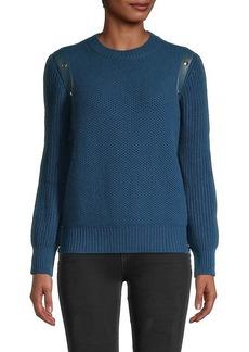 Ferragamo Leather-Trim Cashmere-Blend Sweater