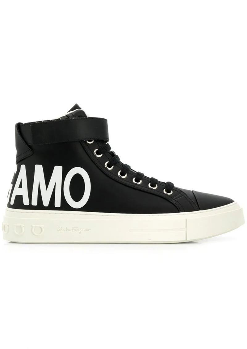 Ferragamo logo hi-top sneakers