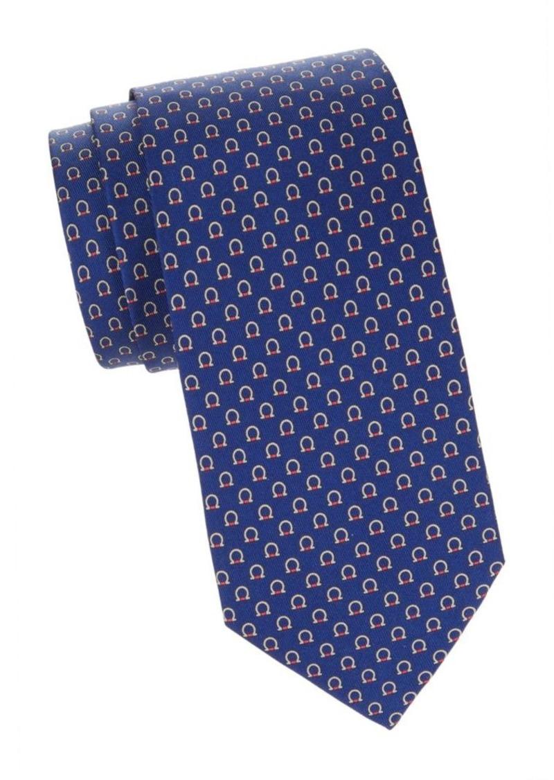 Ferragamo Logo-Print Silk Tie