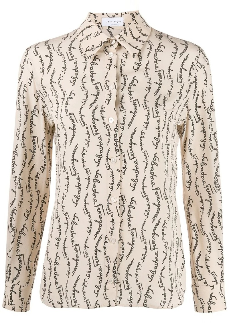 Ferragamo logo print tailored shirt