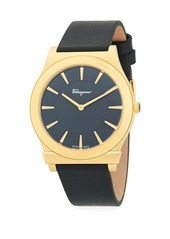 Ferragamo Logo Stainless Steel & Leather-Strap Watch