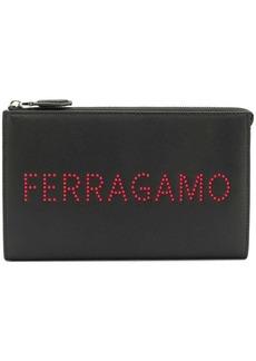 Ferragamo logo studded clutch bag