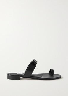 Ferragamo Louisa Bow-embellished Leather Slides