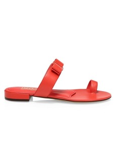 Ferragamo Louisa Flat Leather Sandals