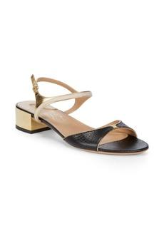 Ferragamo Maddy Metallic Leather Block-Heel Sandals