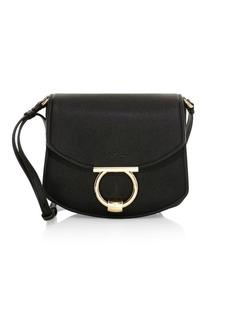 Ferragamo Small Margot Gancino Leather Saddle Bag