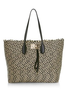 Ferragamo Medium Studio Raffia Tote