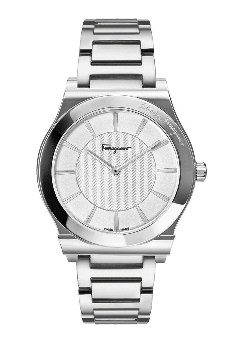 Ferragamo Men's 41mm Guilloche Watch w/ Bracelet Strap  Steel