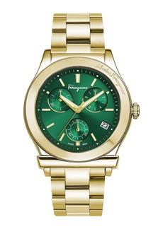 Ferragamo Men's 42mm Chronograph Watch w/ Bracelet Strap  Gold/Green