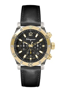 Ferragamo Men's 44mm Chronograph Watch w/ Leather Strap  Gold/Black