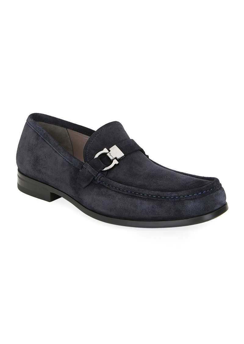 Ferragamo Men's Adam Gancio Suede Loafers