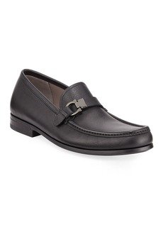 Ferragamo Men's Adam Leather Gancio Loafers