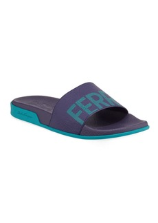 Ferragamo Men's Amos Leather Slide Sandals