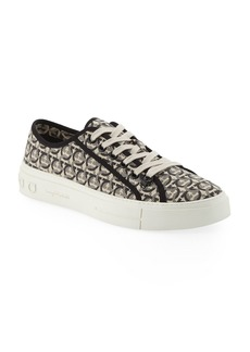 Ferragamo Men's Anson Gancini-Print Canvas Low-Top Sneakers