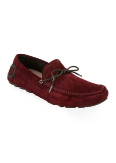 Ferragamo Men's Atlante Suede Drivers with Gancini Heel