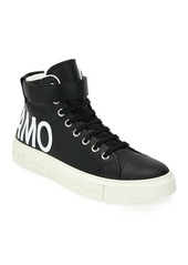 Ferragamo Men's Ayr 2 High-Top Leather Sneakers w/ Grip-Strap Ankle