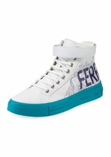 Ferragamo Men's Ayr Logo Leather High-Top Sneakers