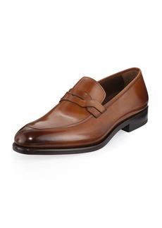 Ferragamo Men's Backer Braided Burnished Leather Loafer