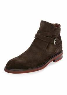 Ferragamo Men's Becker Suede Boots with Strap