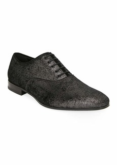 Ferragamo Men's Belshaw Distressed Metallic Leather Oxfords