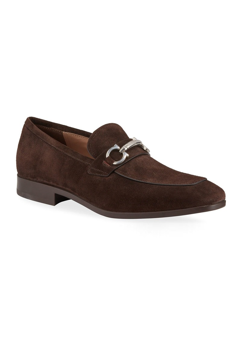 Ferragamo Men's Benford Suede Bit Loafers  Brown
