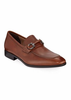 Ferragamo Men's Benford Textured Leather Slip-On Bit Loafers