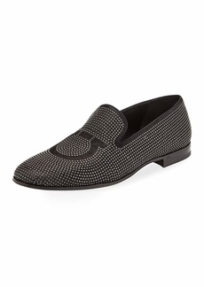Ferragamo Men's Beverly Studded Suede Venetian Loafer