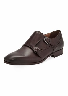 Ferragamo Men's Blair Gancini-Buckle Leather Double-Monk Shoe