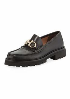 Ferragamo Men's Bleecker Leather Lug-Sole Loafers with Reversible Bit