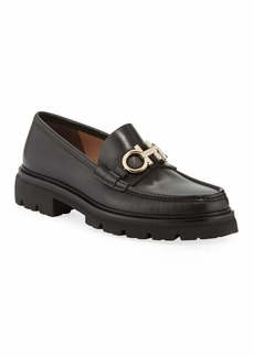 Ferragamo Men's Bleecker Leather Lug-Sole Loafers with Reversible Bit