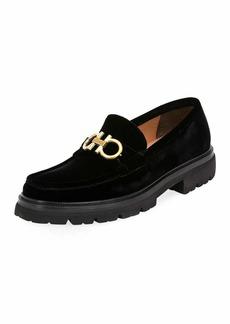 Ferragamo Men's Bleecker Lug-Sole Velvet Loafers with Reversible Bit