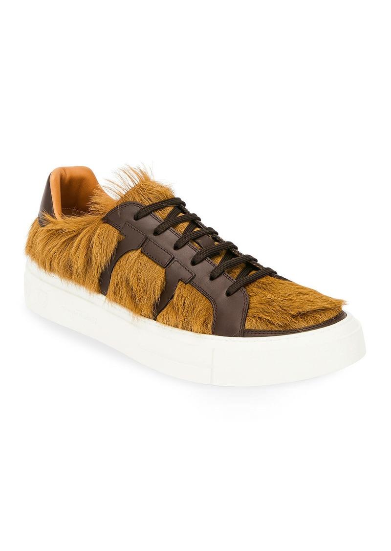 Ferragamo Men's Bolson Fur Low-Top Sneakers