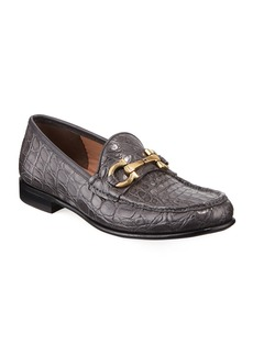 Ferragamo Men's Bond 2 Crocodile Gancini Loafer