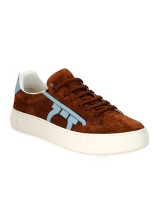 Ferragamo Men's Borg 2 Suede/Leather Gancio Sneakers