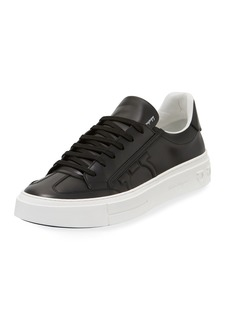 Ferragamo Men's Borg Leather Low-Top Sneakers  Black