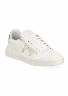 Ferragamo Men's Borg Low-Top Leather Sneakers