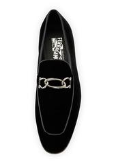 Ferragamo Men's Boy 2 Chain Detail Velvet Loafer