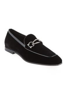 Ferragamo Men's Boy 2 Chain Detail Velvet Loafer