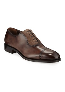 Ferragamo Men's Brawell Tramezza Two-Tone Leather Derby Dress Shoes